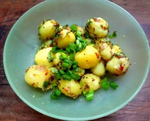 Chutneyed Baby Potatoes and Spring Onions