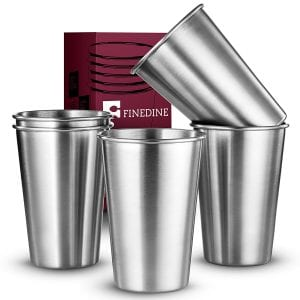 FineDine Premium Grade Stainless Steel Pint Cups Water Tumblers product image