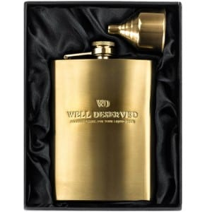 Simpler Life 8oz Gold Hip Flask Gift Set product image