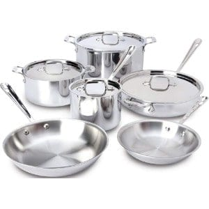 All Clad 401877r Stainless Steel 3 Ply Bonded Dishwasher Safe Cookware Set