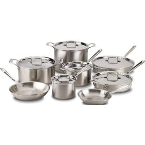 All Clad Bd005714 D5 Brushed 18 10 Stainless Steel 5 Ply Bonded Dishwasher Safe Cookware Set, 14 Piece