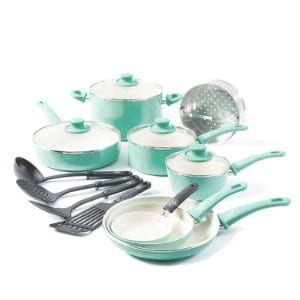 Greenlife Soft Grip 16pc Ceramic Non Stick Cookware Set Product Image
