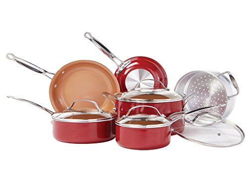 BulbHead Red Copper Non-Stick Frying Pan Set